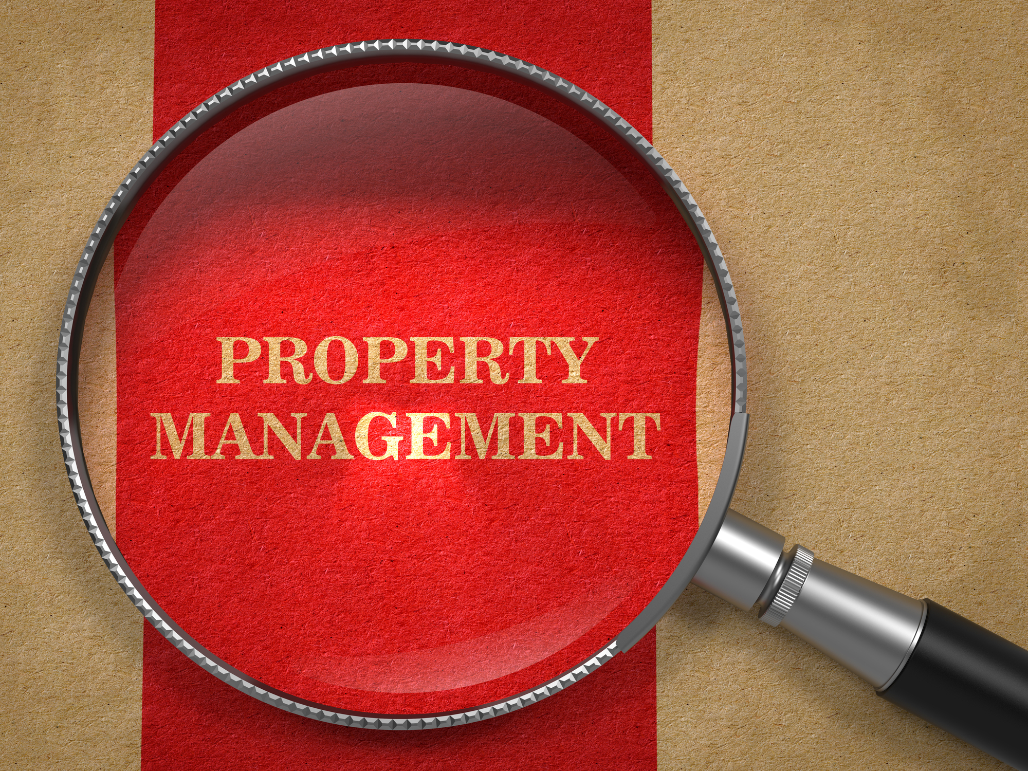 Property Management. Magnifying Glass on Old Paper